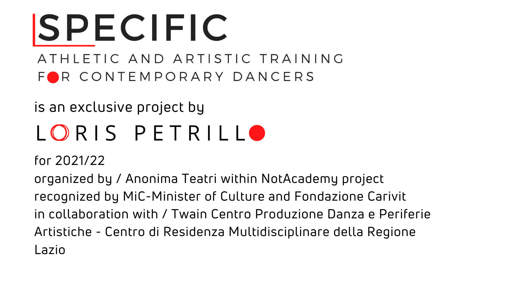 SPECIFIC athletic and artistic training for contemporary dancers - credits